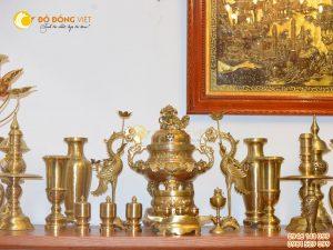 Bộ đỉnh đồng đầy đủ cho bàn thờ gia tiên kích thước 60cm