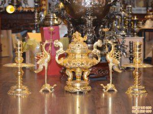 Bộ đỉnh đồng phú quý dát vàng 24k cao 60cm
