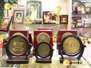 Đĩa đồng quà tặng mặt trống đồng Đông Sơn, đĩa quà tặng khắc Hồ Gươm