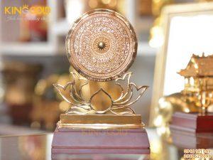 Mặt trống đồng đế hoa sen mạ vàng 24k cao cấp