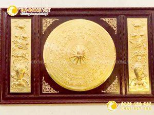 Mặt trống đồng Đông Sơn mạ vàng 24k đóng khung sang trọng