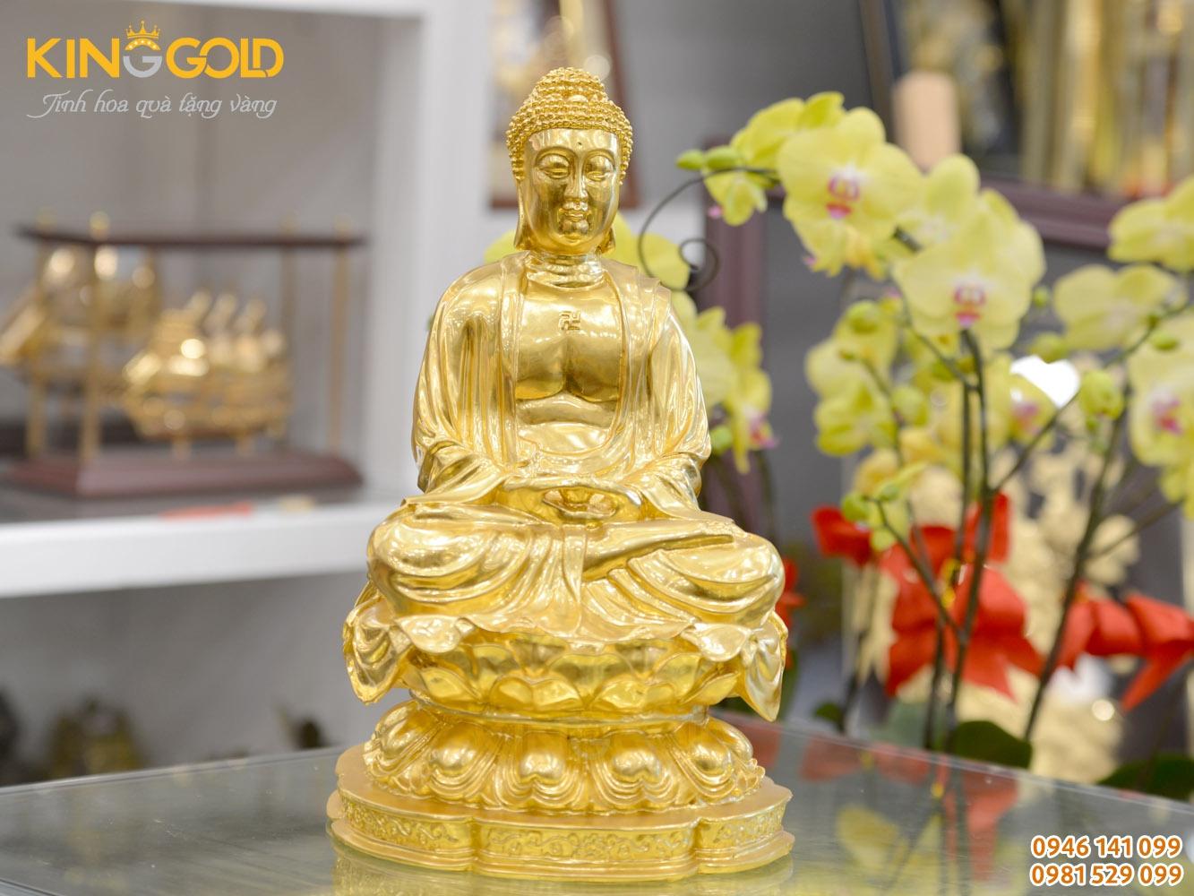 Đúc tượng Phật A Di Đà ngồi thiền dát vàng 24k sang trọng